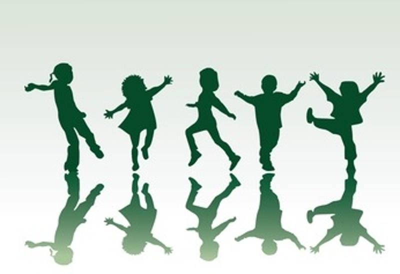 Five children silhouettes in diferent positions, vector illustration